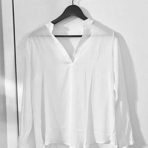 Tops - NWOT Large Sheer White Tunic Shirt